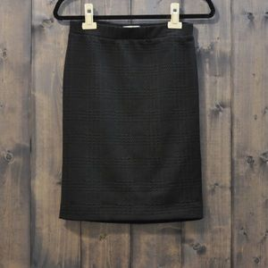 Elle Textured Black Lined Career Pencil Skirt XS